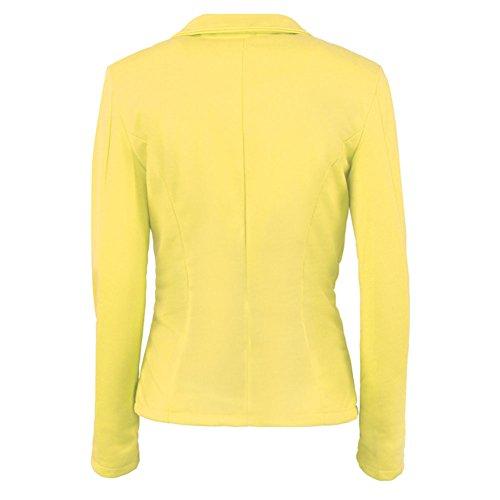 Amarillo Elegante Abrigo Casual Blázer Mujer Pecho De La Un Solo vzrqtwz8x