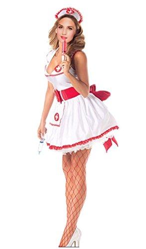 JJ-GOGO Naughty Nurse Costume - Women Sexy Temptress White Vintage Nurse Lingerie Hallowen Costume