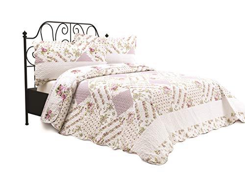 Chiara Rose 3 Piece Reversible Quilt Set Bedspread Coverlet Lightweight Comforter Full Queen FLW GRDN ()
