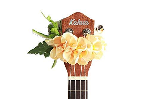 - ukuhappy Ukulele Ribbon Leis Hawaiian Crafts Ukulele Accessories Plumeria (yellow)
