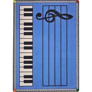 Joy Carpets Kid Essentials Music & Special Needs Play Along Rug, Blue with Keys, 7'8'' x 10'9'' by Joy Carpets