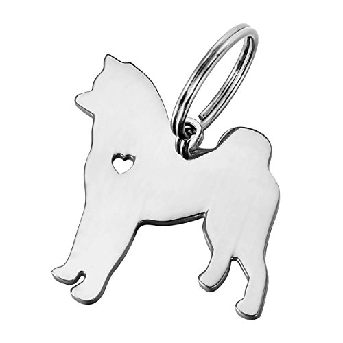 HOUSWEETY 1pc Stainless Steel Akita Dog Pendant 3x2.5cm ()