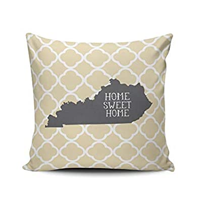 LUDEM Custom Fashion Home Decor Pillowcase Yellow Home Sweet Home Kentucky Square Throw Pillow Cover Cushion Case 18x18 Inches Two Sides Print