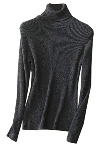 (NAWONGSKY Women's Soft Lightweight Cashmere Slim Fit Basic Turtleneck Jumper Sweater, Grey, US M/10 = Tag XL)