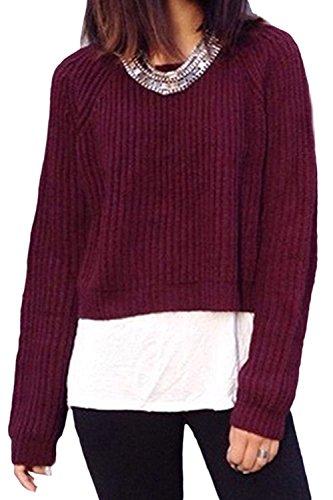 Camiseta De Manga Larga De Las Mujeres Con Cuello En V Suelto Suéteres Crop Tops Red