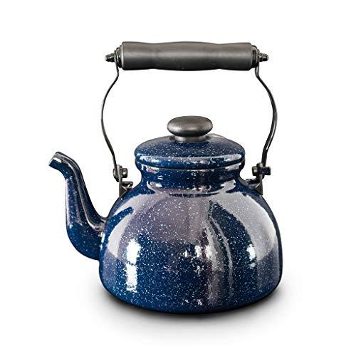Teapot Enamel Mini Black Cast Iron Kettle with Filter Blue Enamel Kettle 2L Induction Cooker Gas General Creative Starry Porcelain Kettle (Porcelain Tea Kettle Blue)