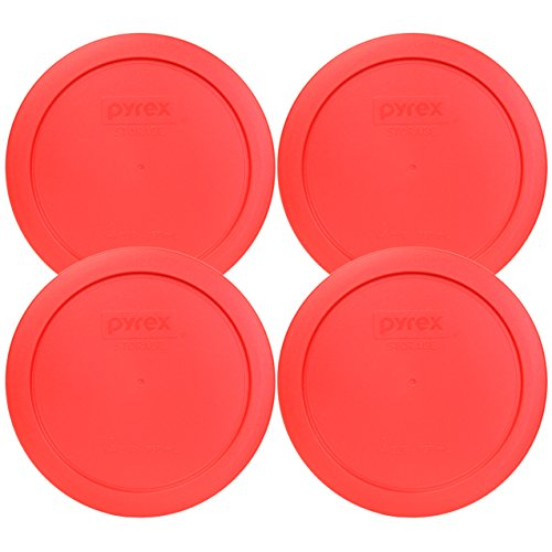 "Pyrex 7201-PC Round Red 6.5"" 4 Cup Lid for Glass Bowl 4 Pack"