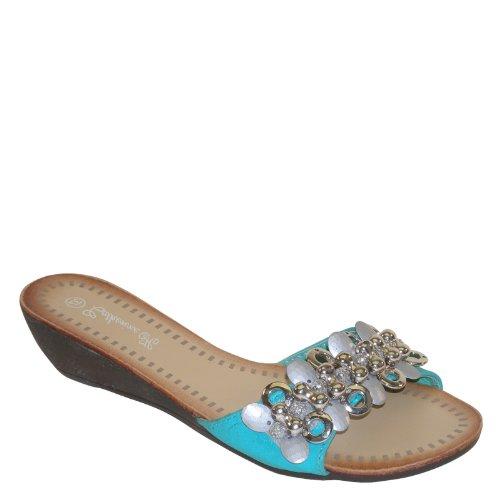 Brand New Brieten Paillette Bead Strap Slides Wedge Sandals Green X7yho