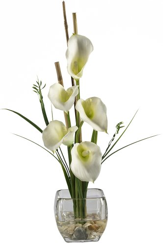 Nearly Natural 1118-CR Calla Lilly Liquid Illusion Silk Flower Arrangement, Cream