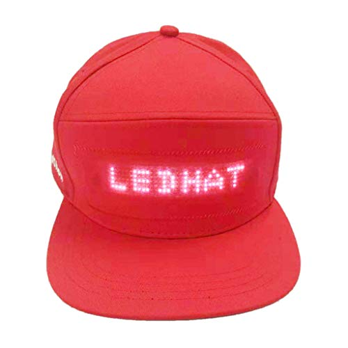 Wireless Clip Solutions Leather (Harpi Fashion LED Caps Cool Hats with Light Screen Waterproof Wireless Smartphone Controlled Hat for Men Girls Boys Rechargeable Party Rave Hat (Red))