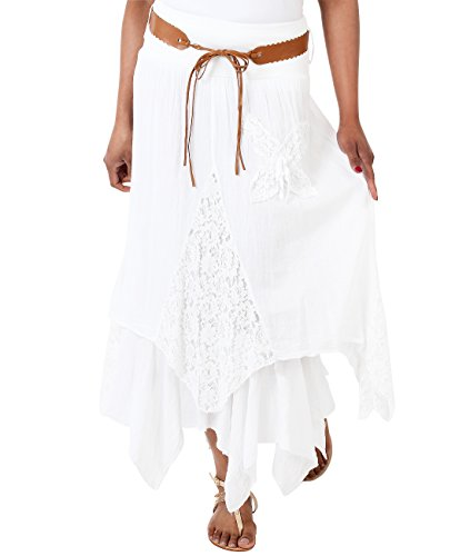 Krisp 7844-WHT-14 Maxi Skirt, White, US ()