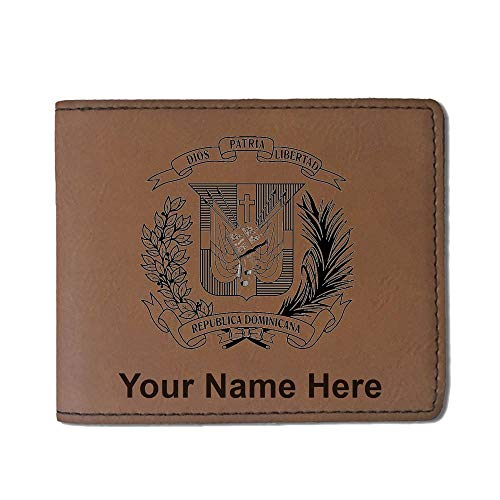 - Faux Leather Wallet, Coat of Arms Dominican Republic, Personalized Engraving Included (Dark Brown)