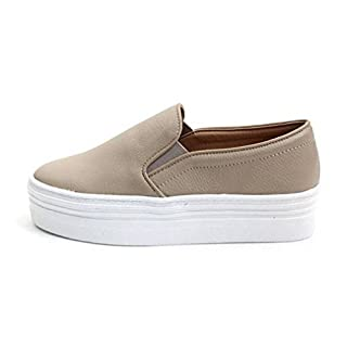 EpicStep Women's Beige Casual Simple Slip-On Mid Heels Thick Soles Platform Shoes Low Fashion Sneakers 7 M US