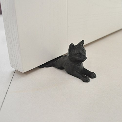 "Cast Iron Door Stop - Decorative Rustic Door Stoppers - Stop Your Bedroom, Bath and Exeterior Doors 2.5x6.1""(Black with Brown-Cat)"