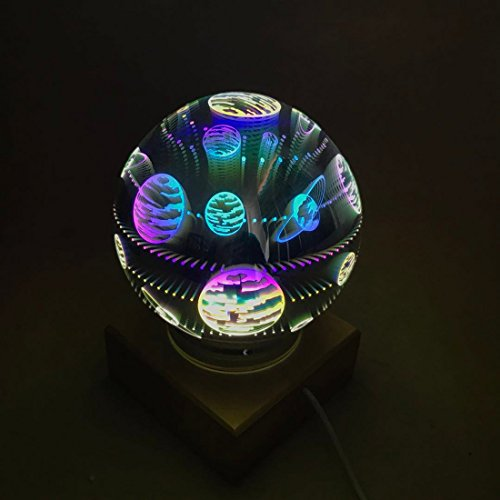 3D Fireworks Night Light, Tmore Glass Lamp Magical Crystal Ball USB Power Starry Decorative Lamp Colorful Sphere Table Light (Butterfly) by Tmore (Image #4)