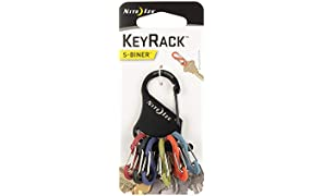 Nite Ize Keyrack, Stainless Steel Carabiner Key Chain with 6 Colorful Plastic S-Biners To Hold + Identify Keys, Bright Multi Colored