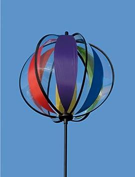 incluye varilla de sujeci/ón Escultura de viento redonda Bola: 25 cm Magic Crystal Rainbow resistente a los rayos UVA y a la intemperie anclajes para el suelo y de suspensi/ón altura total: 100 cm