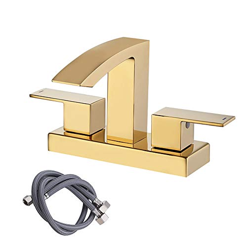 - KES LEAD-FREE BRASS Two Handle Bathroom Waterfall Faucet Assembly Lavatory Vanity Sink Faucet 4-Inch Centerset Morden Square Hotel Style Titanium Gold, L4101LF-4