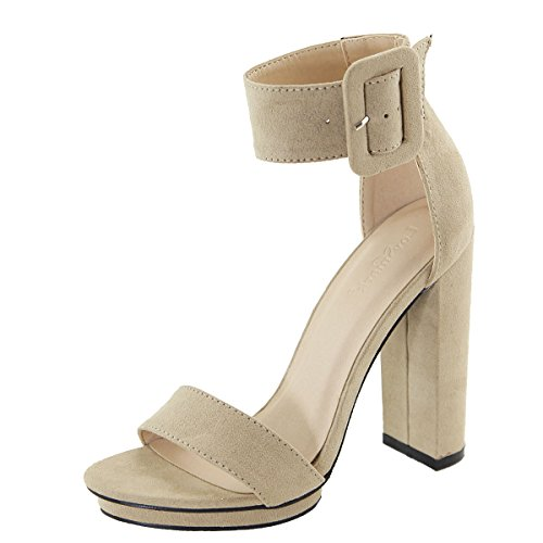 Buckle Platform Heel Taupe Pump Cuff Chunky Toe Mark Open Strap Love Womens Ankle Sandal IWw8S6qWxC