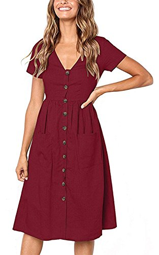 Button Down Work Dress for Women Going Out Dresses Holiday Dresses Wine Red M