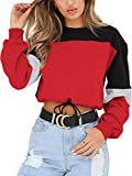 Angashion Womens Sweatshirt-Long Sleeve Drawstring Hem Color Block Crop Top Pullover Tops Red S