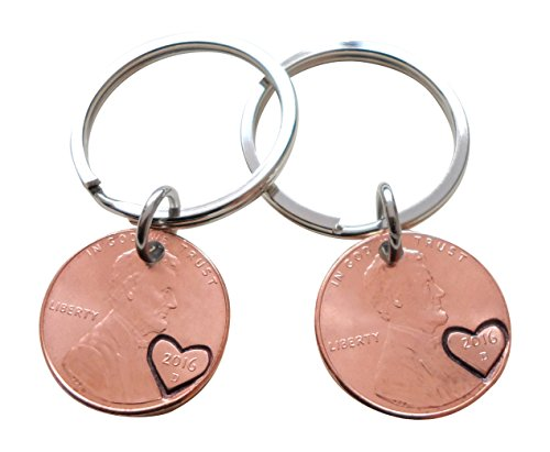 Double Keychain Set 2016 US One Cent Penny Keychains with Heart Around Year; 2 Year Anniversary Gift, Hand Stamped Couples Keychain - One Cent Penny