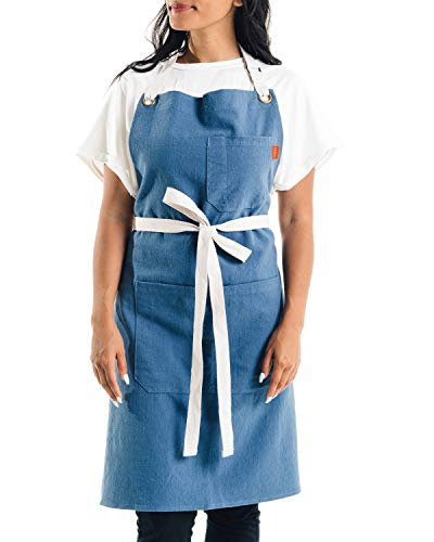 Caldo Linen Kitchen Apron - Mens and Womens Linen Bib Apron - Adjustable with Pockets (Vintage Blue)