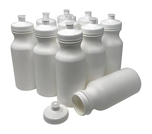(CSBD Blank 20 oz Sports and Fitness Squeeze Water Bottles, BPA Free, HDPE Plastic, Made in USA, Bulk (White Bottle - White Lid, 10)
