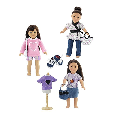 Dyed Shorts (18-inch Doll Clothes | Value Bundle- Set of 3 Doll Outfits, Including Shorts Outfit with Purse, Jeans Outfit with Purse, and Denim Skirt Outfit with Purse and Denim Sneakers | Fits American Girl Dolls)