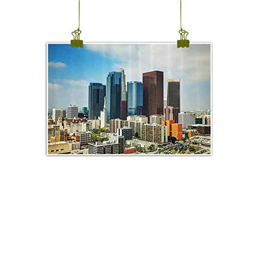 SEMZUXCVO Art Oil Paintings Apartment Decor Collection Los Angeles Cityscape on a Sunny Day Colorful Office Buildings Streets Scene Decorative Painted Sofa Background Wall W35 x L24 Orange Blue Brown
