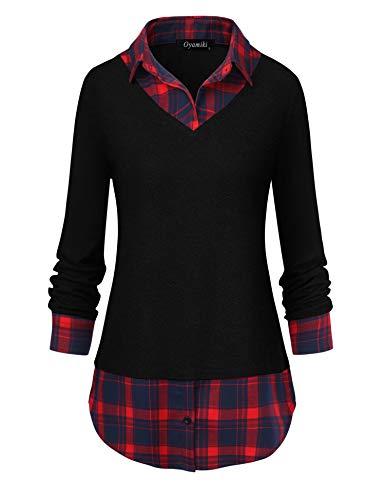 modase Women's Contrast Collar Shirt Plaid Long Sleeve Office Tunic Sweater Blouse Black/XL