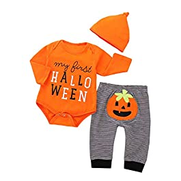 Afocuz Halloween Costumes Pumpkin Long Sleeve Outfits Set Newborn Baby Boys Girls Clothes My First Halloween