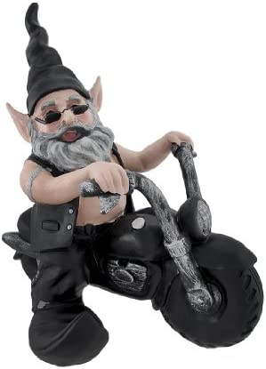 Zeckos Gnoschitt Rides Again Biker Garden Gnome on Motorcycle Statue 12 Inch