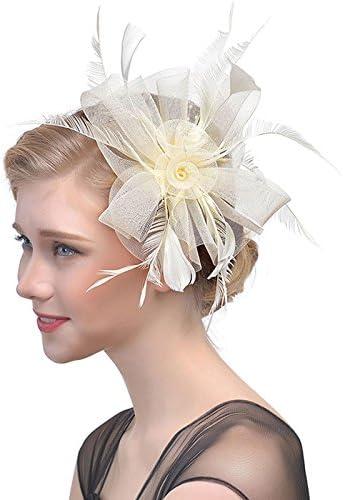 WELROG Stirnbänder Mesh Federn und Gabel Clip Cocktail Party Tee Hüte für Damen
