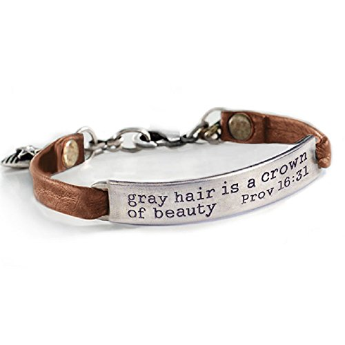 Band Message Inspirational - Sweet Romance Gray Hair is a Crown of Beauty Prov 16:31 Inspirational Leather Band Bible Message Bracelet - Brown Leather
