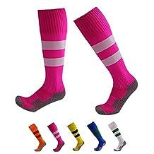 VWU Boys Girls Mens Womens Thick Knee High Soccer Socks Stripe Compression Socks Athletic Socks