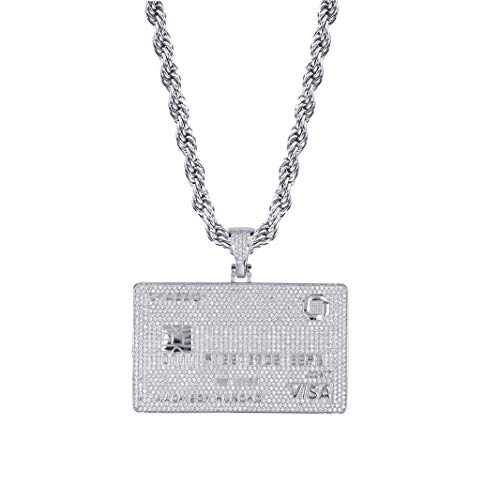 TOPGRILLZ 14K Gold Plated Iced Out Credit V Card Pendant Necklace Chain for Men Charm Gifts Hip Hop Jewelry (White Gold)
