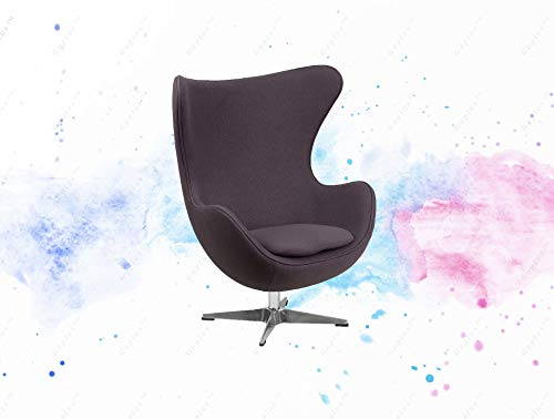 GUPLUS-Gray Wool Fabric Egg Chair with Tilt-Lock Mechanism Lounge Chair Retro Style Gray Wool Fabric Upholstery Integrated Curved Arms Removable Padded Cushion Removable Cover Secured with Zipper