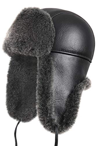 Zavelio Unisex Shearling Sheepskin Aviator Trapper Russian Fur Hat Medium Black