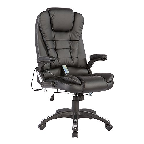 Murtisol Massage Gaming Chair Ergonomic Leather Office Chair Heated/Executive/ Adjustable High Back Black - Massage Leather