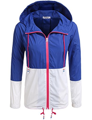 Meaneor Women's Lightweight Waterproof Raincoat Hooded Outdoor Activewear Rain Jacket (13 Colors Available) Blue/White