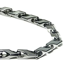 Tungsten Carbide Men's Wheat Link Necklace Chain