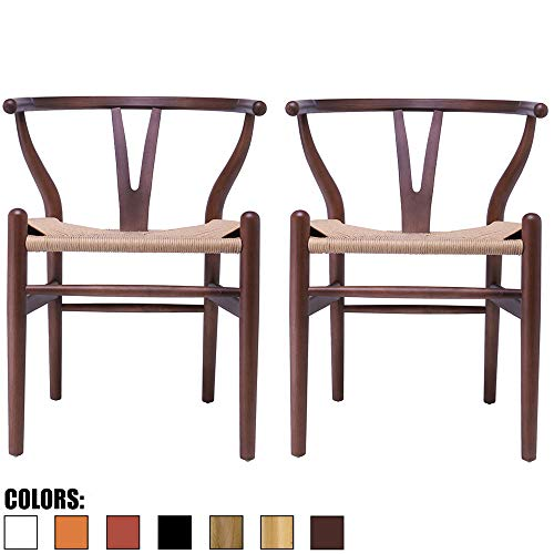 2xhome Set of 2 Wishbone Wood Armchair with Arms Open Y Back Open Mid Century Modern Contemporary Office Chair Dining Chairs Woven Seat Brown Living Desk Office (Espresso)