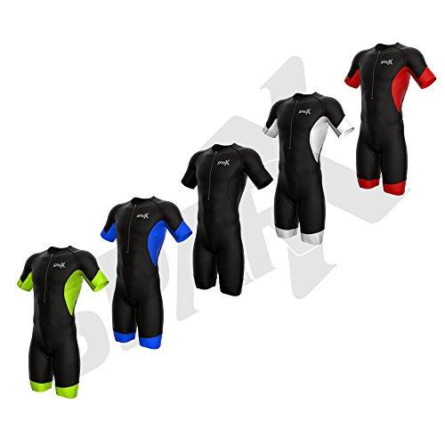 - Sparx Men's Elite Sleeved Triathlon Suit Short Sleeve Trisuit SpeedSuit Skinsuit Swim-Bike-Run (Medium, Black/Red)