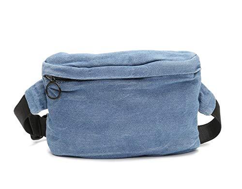 MOLLYGAN Funny Pack with Vogue Design Blue Soft Denim Waist Bag Comfort Wearing, Adjustable Strap Lightweight Belt Bag Bum Bag for Running Outing Hiking -