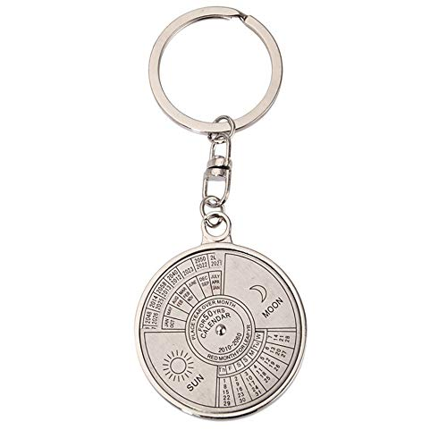Mini Retro Trendy Zinc Alloy Super Perpetual Calendar Unique Metal Key Chain Ring 50 Years Keyring Keychain Ideal Companion