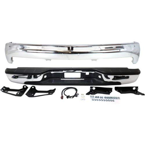 Bumper Kit Set of 2 Compatible with CHEVROLET SILVERADO 1500/2500 1999-2002 Front and Rear With Bumper and Step Bumper