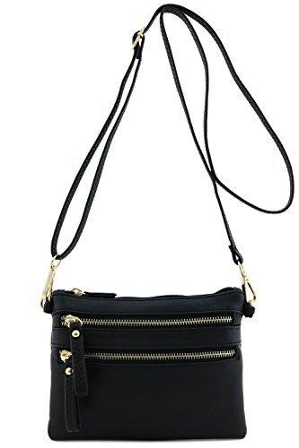 FashionPuzzle Multi Zipper Pocket Small Wristlet Crossbody Bag Black,One Size