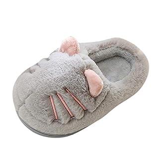 Shan-S Kids Cute House Slippers Boys Girls Fur Lined Indoor Fleece Winter Warm Fluffy Home Slipper Cat Shoes