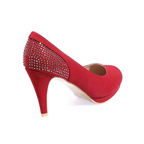 La Modeuse-Sandalias talla grande con plataforma de imitación de piel Rojo - rojo
